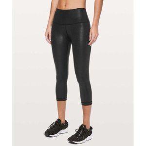 "Lululemon Wunder Under Crop High Rise Foil 21"" Leggings Black Size 0 Yoga Luon"